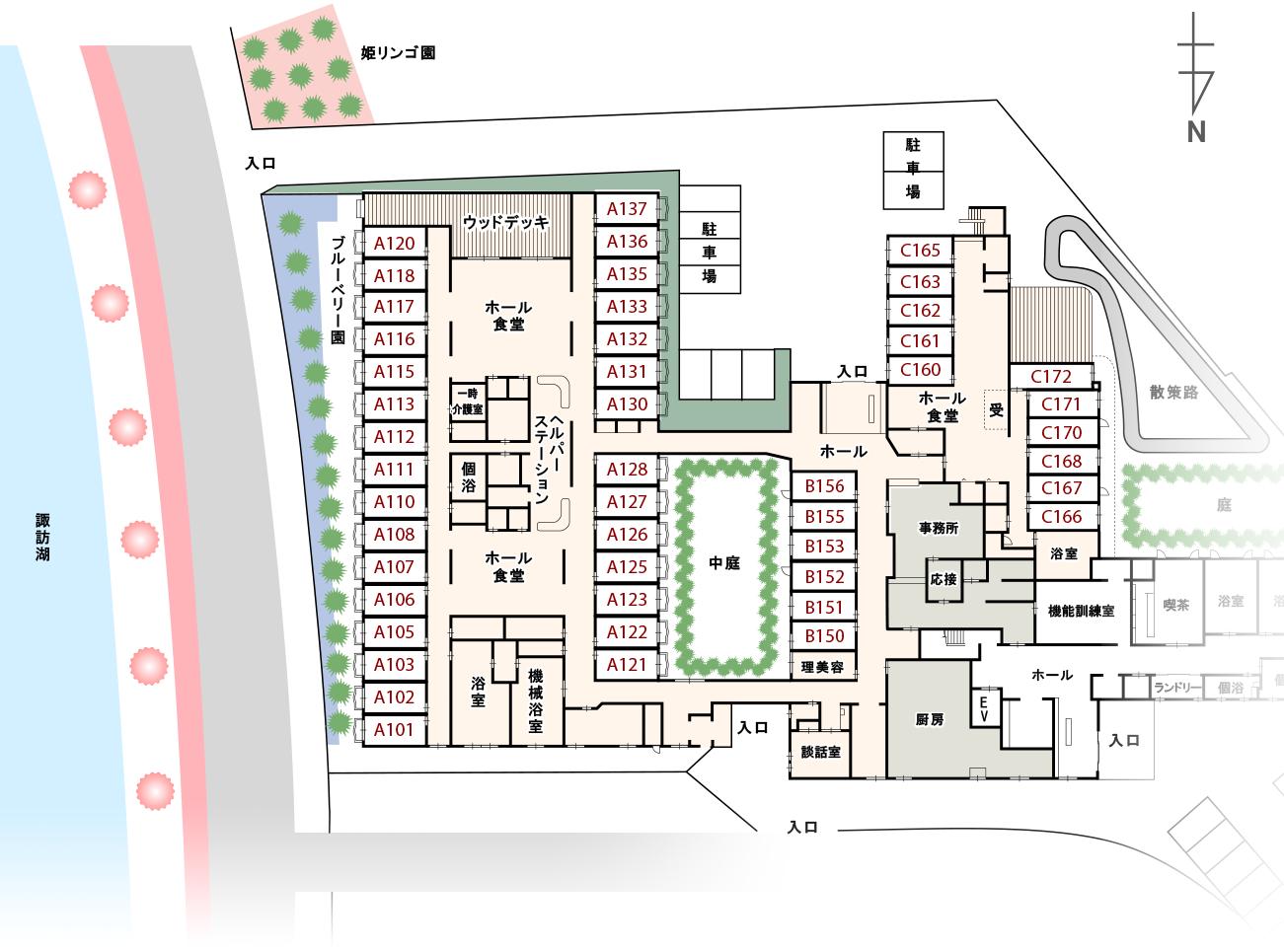 介護付き有料老人ホーム(介護終身対応)カーサ・デ・ソル諏訪湖間取り図