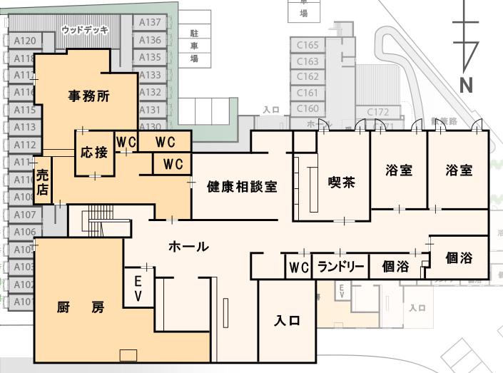 高齢者向け賃貸マンション(介護終身対応)カーサ・デ・ソル諏訪湖間取り図 1階